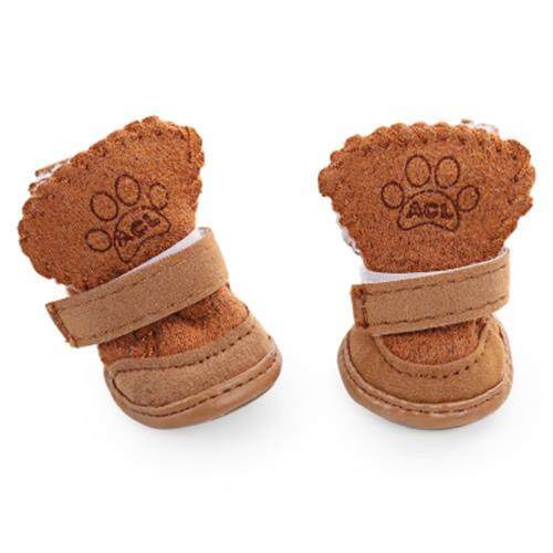 2 PAIRS DOG CAT NON-SLIP SHOES THICK SOFT BOTTOM SNOW BOOTS (COFFEE)