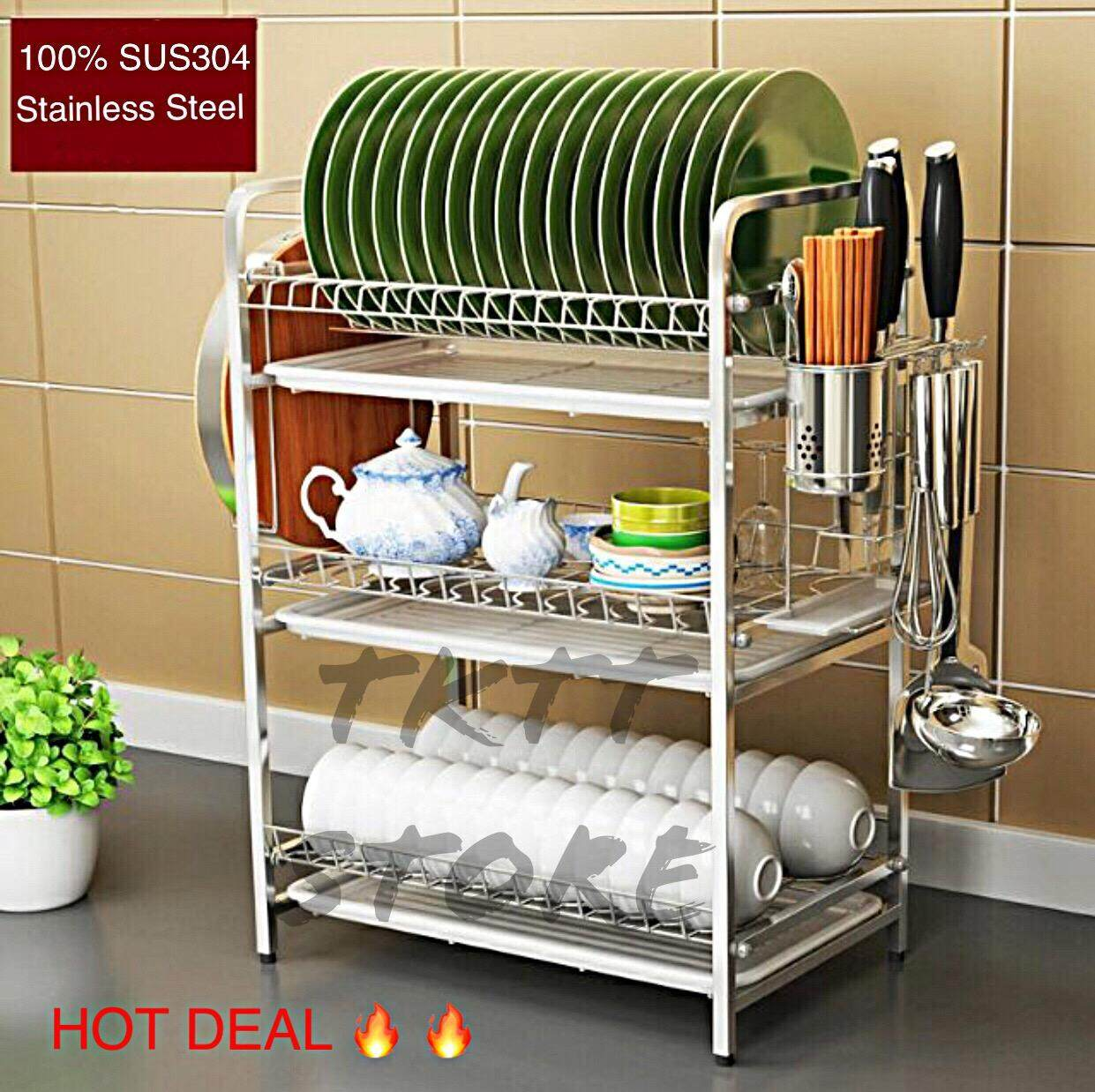 TKTT 3 Tiers SUS304 Stainless Steel Dishes Rack With Side Cutlery Holder/ Dishes Drainer/