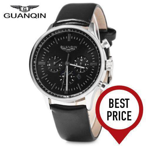 GUANQIN MALE LEATHER CALENDAR LUMINOUS ANALOG QUARTZ WATCH WITH MOVING SUB-DIALS (BLACK SILVER BLACK)