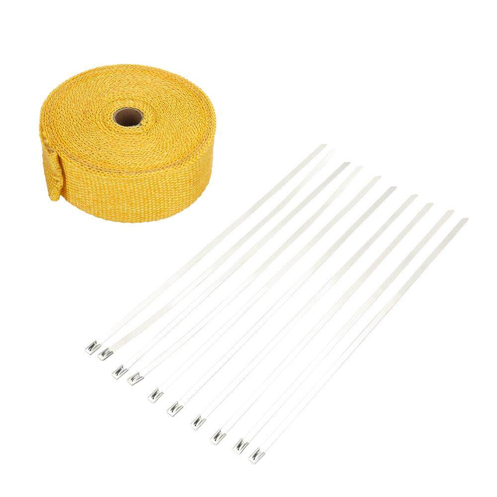 Features Heat Resistant Electrical Power Insulating Wire Harness Fiberglass 10m Wrap Exhaust Roll Durable Wear Shield Tape Pipe