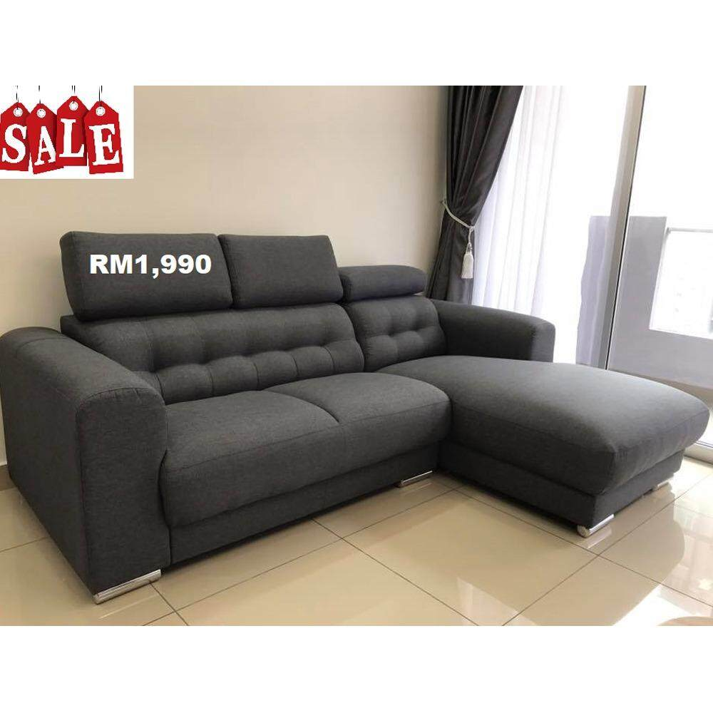 L Shape Water Repellant Fabric Sofa With Headrest