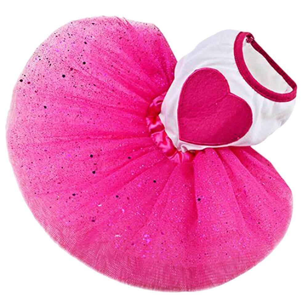 Pet Dog Love Heart Sequins Gauze Tutu Dress Skirt Puppy Cat Rose Red Clothes L - Intl By Miss Lan.