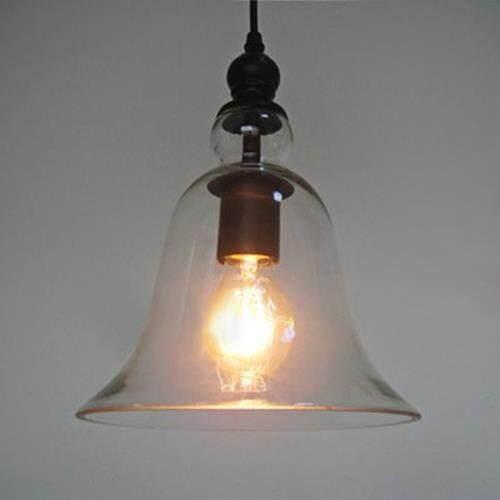 CY - DD - 036 INDUSTRIAL BELL GLASS LAMP SHADE RETRO PENDENT CEILING LIGHT SOCKET (BLACK)