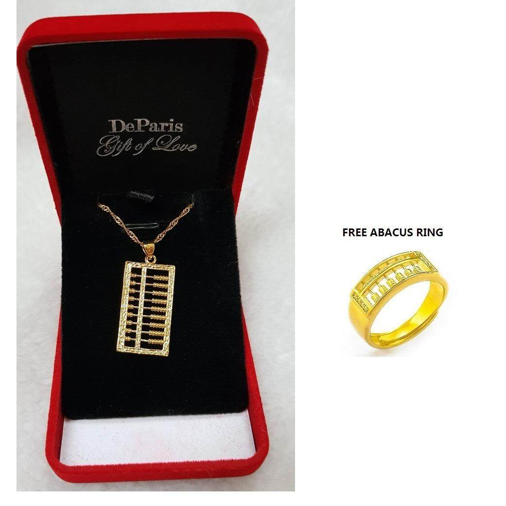 DeParis 24K Gold-Plating Premium 招财算盘 FORTUNE ABACUS Necklace- FREE RING