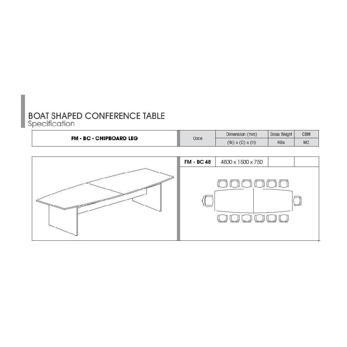 FREE Delivery Klang Valley Boat Shape Meeting Conference Table X - 16 person conference table