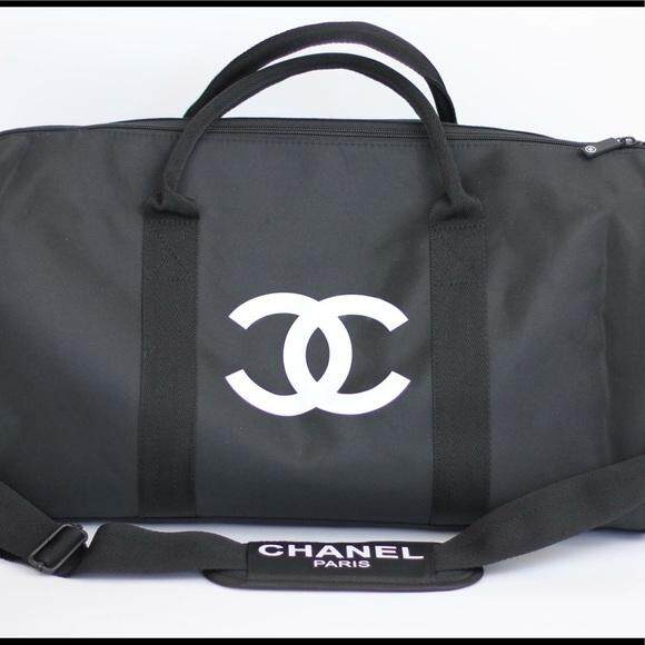 cc9514261ca4 This is merchandise is a Chanel VIP Giveaway. DESCRIPTION. Authentic Chanel  vip gift bag travel bag gym bag weekend bag duffle ...