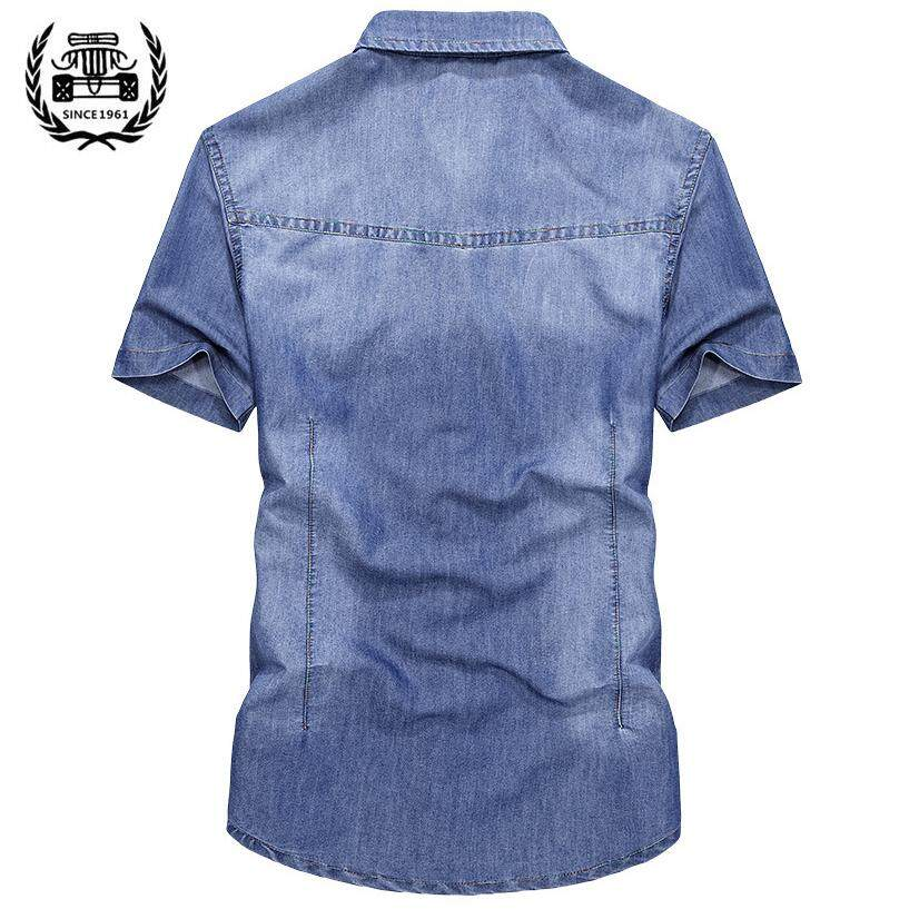 Kelebihan Afs Jeep Pria Denim Celana Pendek Kasual Lengan Kemeja ... 370df55339
