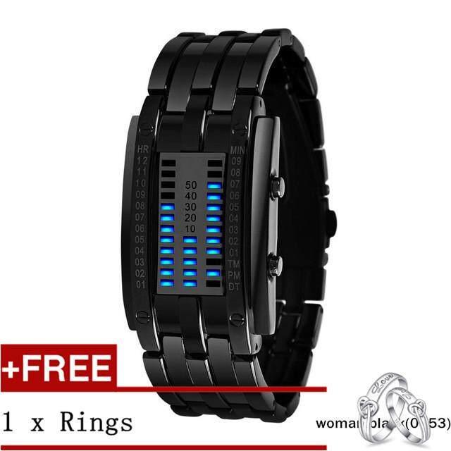 NanXiangZi SKMEI Watch 0926 Men Women Couple Digital LED Display 30M Waterproof Quality Alloy Band WristWatches + Free a Couple Rings