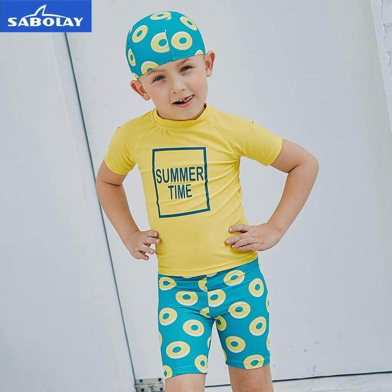 0b514cbf77 SABOLAY Children Short Sleeved Swimwear Diving Sunscreen UPF 50+ Wetsuit Quick  Drying UV Protection Surfing