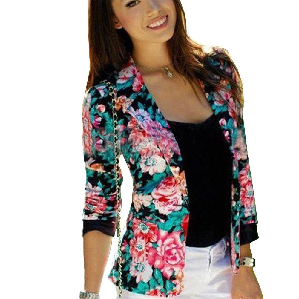 Women Slim Floral Printed Casual Business Button Blazer Suit Jacket Coat Outwear
