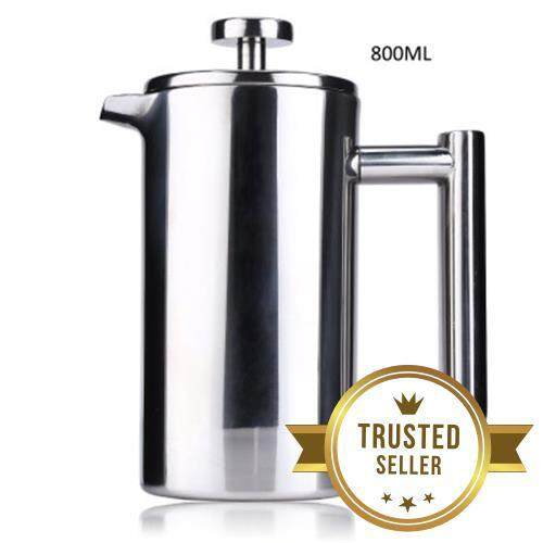 800ML STAINLESS STEEL INSULATED COFFEE TEA MAKER WITH FILTER DOUBLE WALL (SILVER)