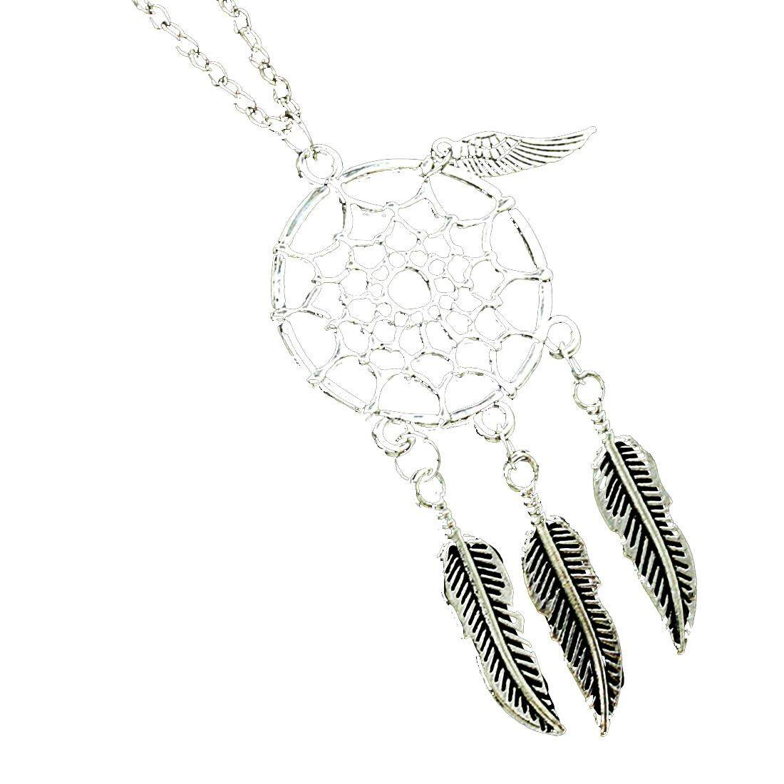 Retro Dream Catcher Pendant Special four feathers Tassels Chain Necklace - intl