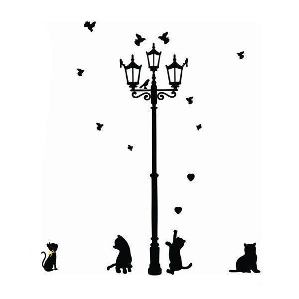 Cenita Perekat Rumah Dekorasi 3 Sedikit Kucing Di Bawah Lampu Jalan DIY Dinding Stiker Wallpaper Mural Room Stiker-Internasional