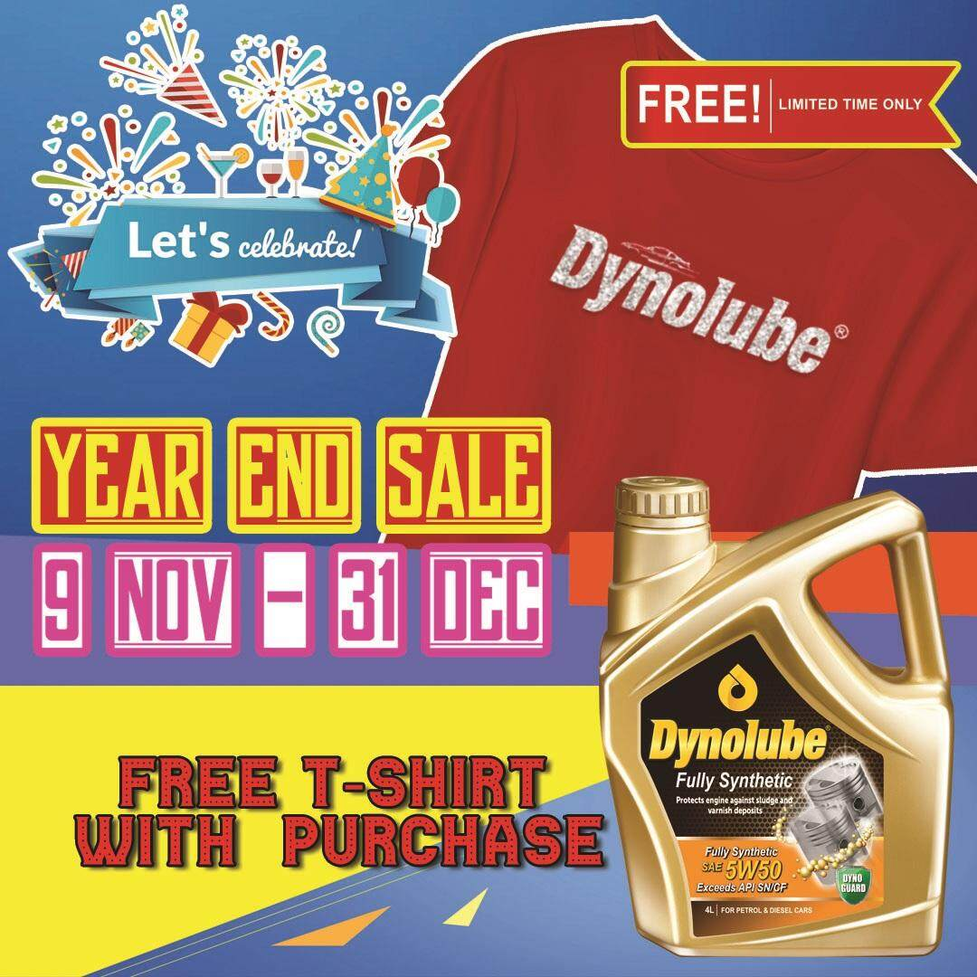 Dynolube 5W50 SN/CF Fully Synthetic 4Liter (For Turbo Engine) Engine Oil FREE 1 X T-Shirt (C)