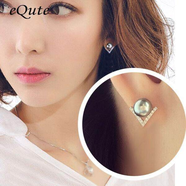 According to S925 white fungus nail female gray shell pearl earrings female temperament Japan and South Korea simple personality imitation zircon silver earrings female Valentine's Day gift gray earrings(Gray ear studs) - intl