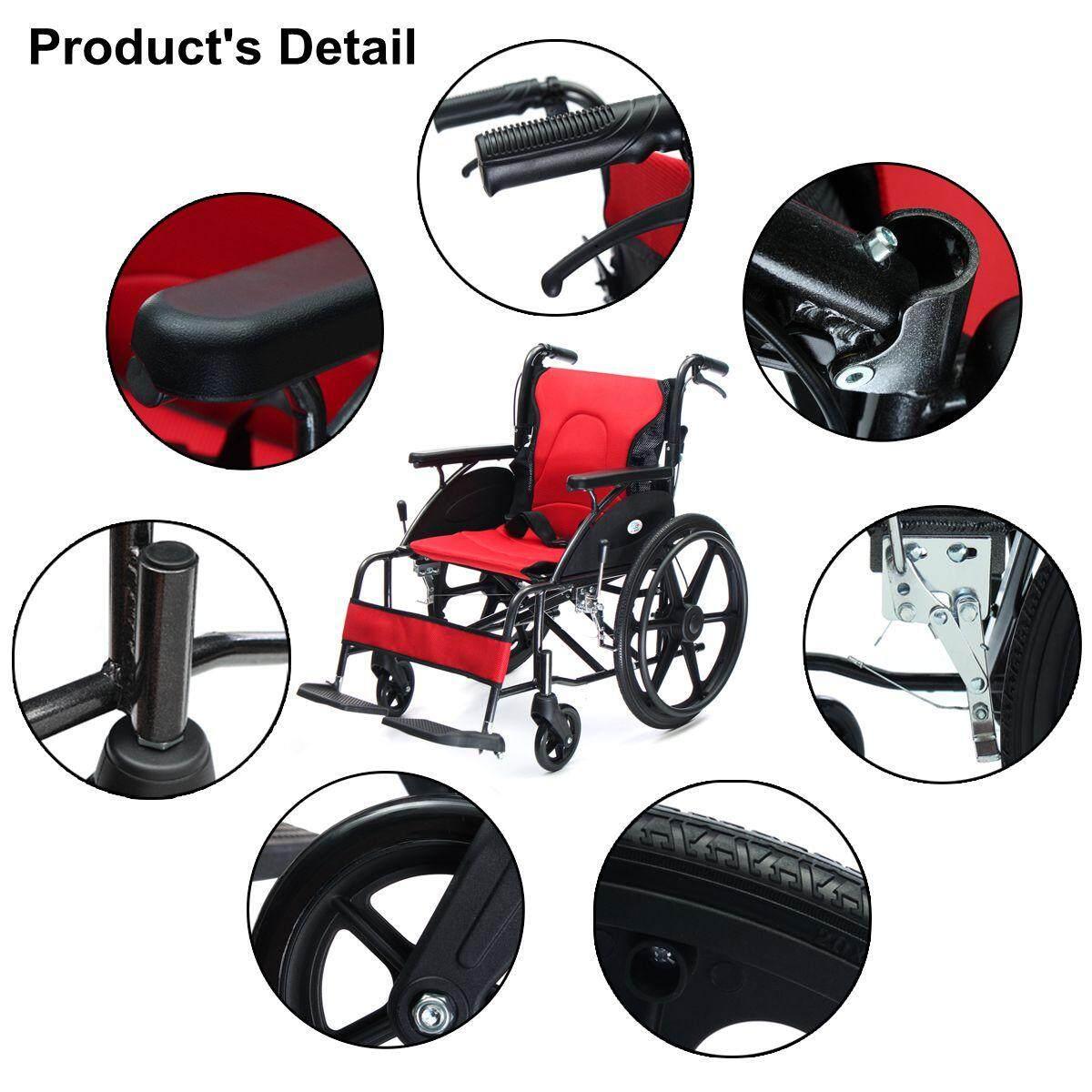 Lipat Aluminium Paduan Kursi Roda Handbrake Berayun Jauh Footrest Perangkat Mobilitas-Internasional