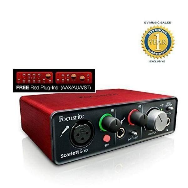 Focusrite Scarlett Solo USB Audio Antarmuka dengan Merah Steker-Dalam dan Perpanjangan 1 Tahun Garansi-Internasional