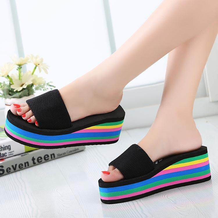 Fashion Women Colorful Rainbow EVA Peep Toe Platform Slip On Beach Slippers