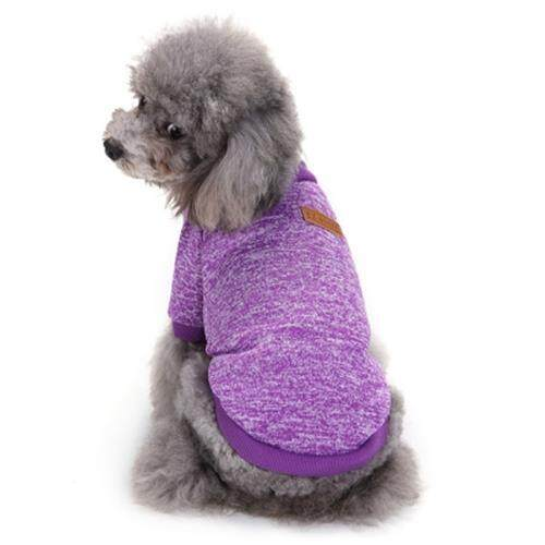 PET DOG CLASSIC SWEATER COAT FLEECE KNITWEAR CLOTHES (PURPLE)