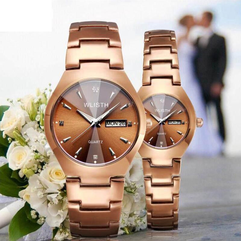 Dual Calendar Couple Watches Set Business Men Women Stainless Steel Wrist Watch Jam Tangan Mechanical Quartz