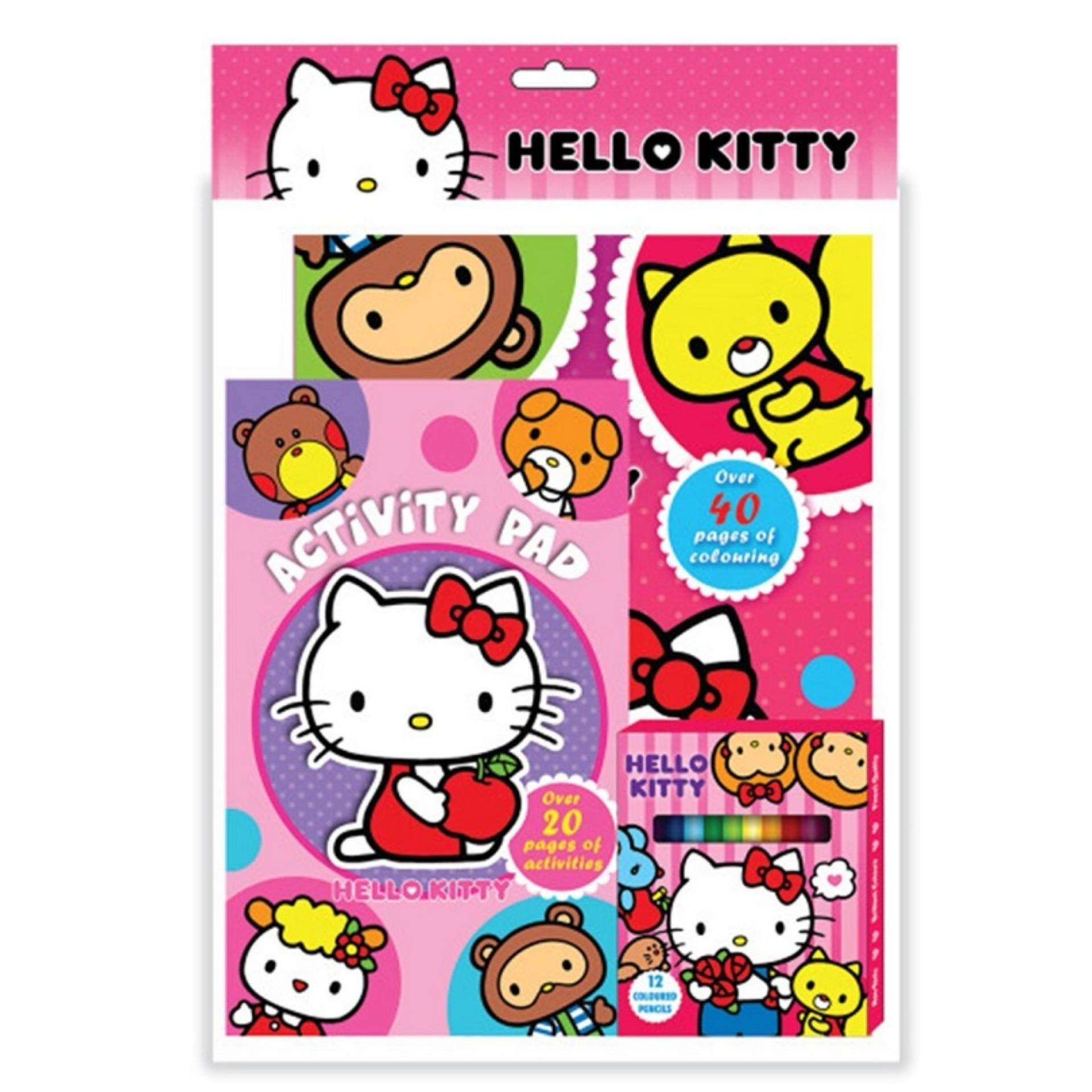 Sanrio Hello Kitty Activity & Colouring Book With Activity Pad, 12pcs Colour Pencil Set - Pink Colour