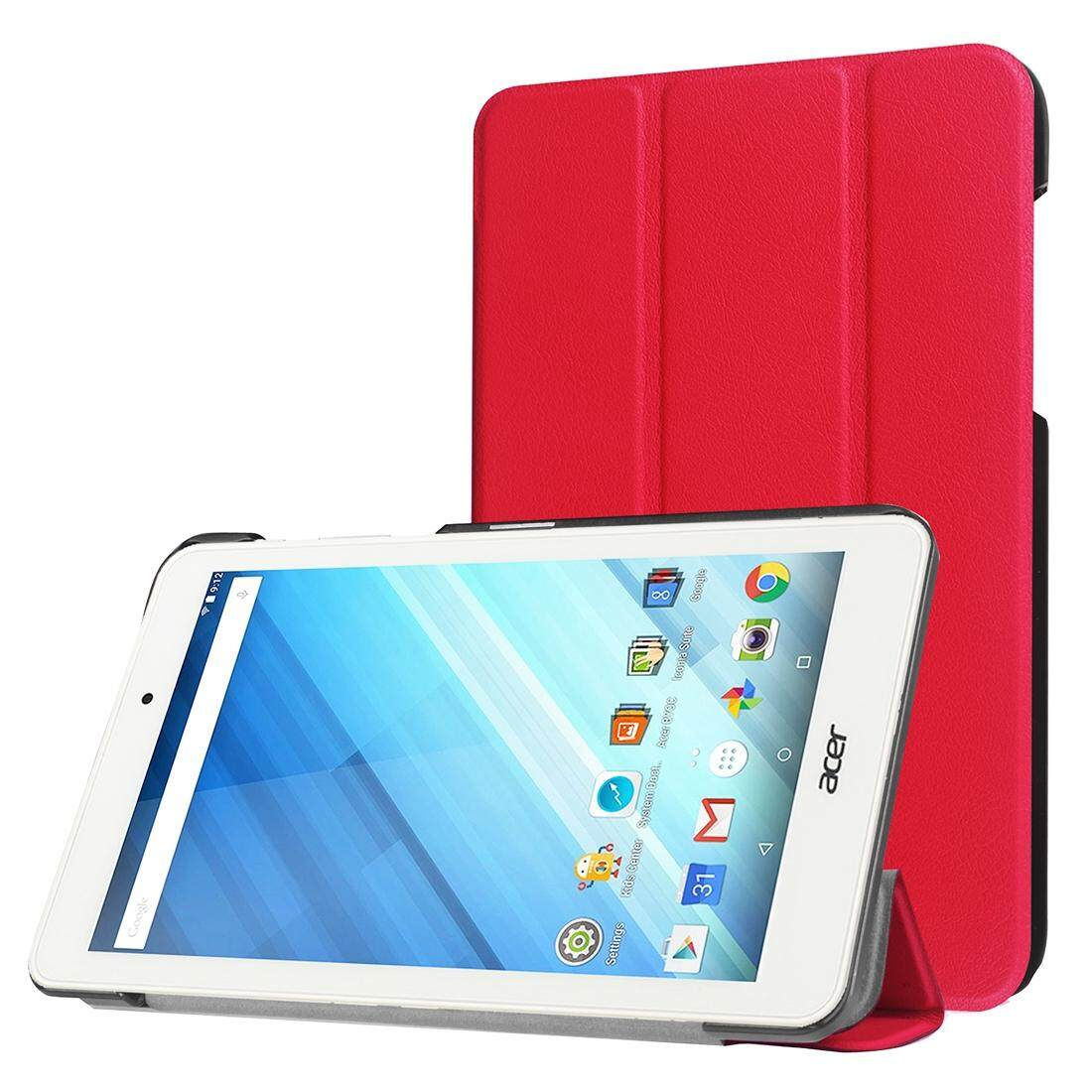 For Acer Iconia One 8 / B1-850 Custer Texture Horizontal Flip Solid Color Leather Case with Three-folding Holder(Red)