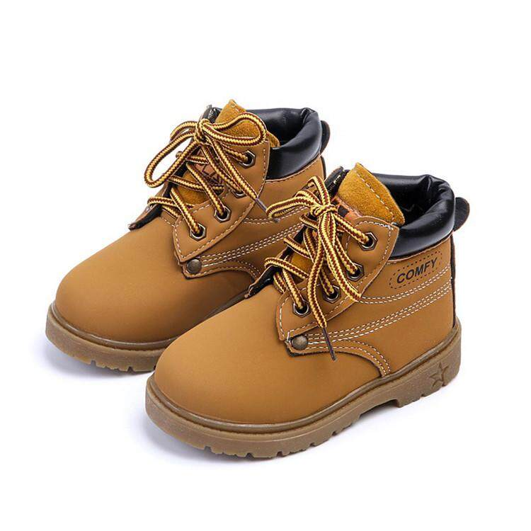 New Baby Kids Boy Girl Leather Snow Boots Lace Up Winter Warm Shoes Fashion  Gift yellow c6d33a76b543