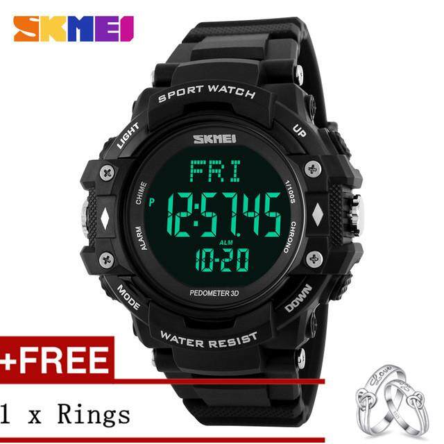 ALEVIN SKMEI 1180 3D Pedometer Tracker LED Digital Watch Men's Outdoor Sports Waterproof Watch + Free a Couple Rings