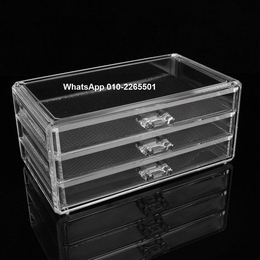 Clear Acrylic Cosmetic Organizer Drawer 4 Tier Makeup