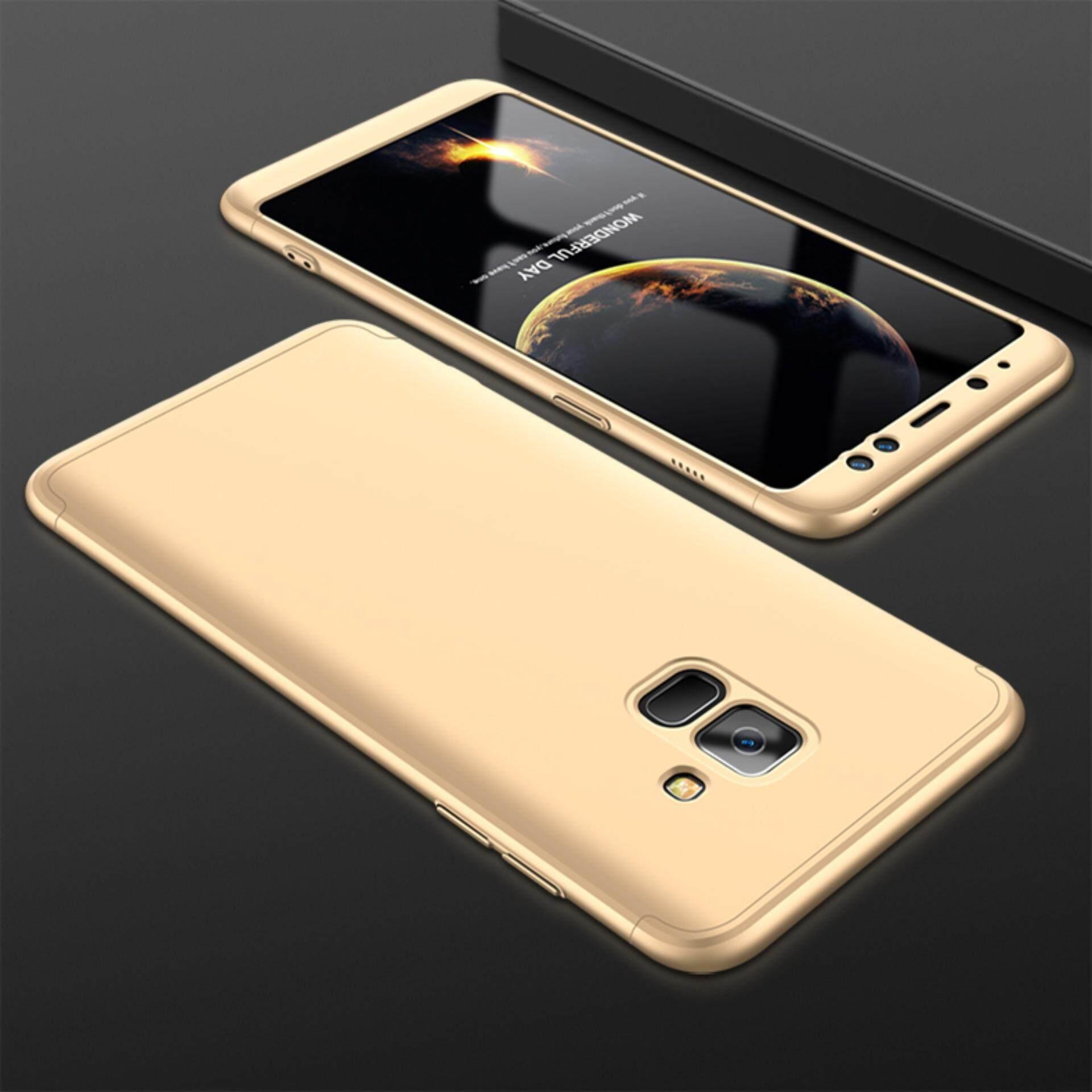 360 Derajat Penuh Sarung 3in1 Kombo Telepon Case untuk Samsung Galaksi A8 Plus (2018)