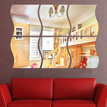 4 Pcs 28x27 Acrylic Decorative Wave Shape Mirror Wall Sticker Solid Decoration  Wall Mirror Attached Home Furnishing Wave Shape Part 79