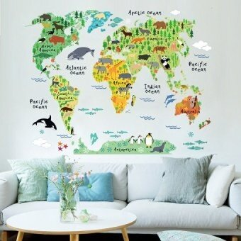 Colorful World Map Removable Wall Sticker Mural Decal Vinyl ArtKids Room  Office Home Decor Animal World Decoration Wallpaper Part 71