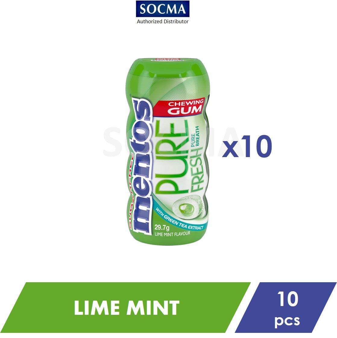 Mentos Pure Fresh Pocket Bottle Gum Lime Mint 29g [10]