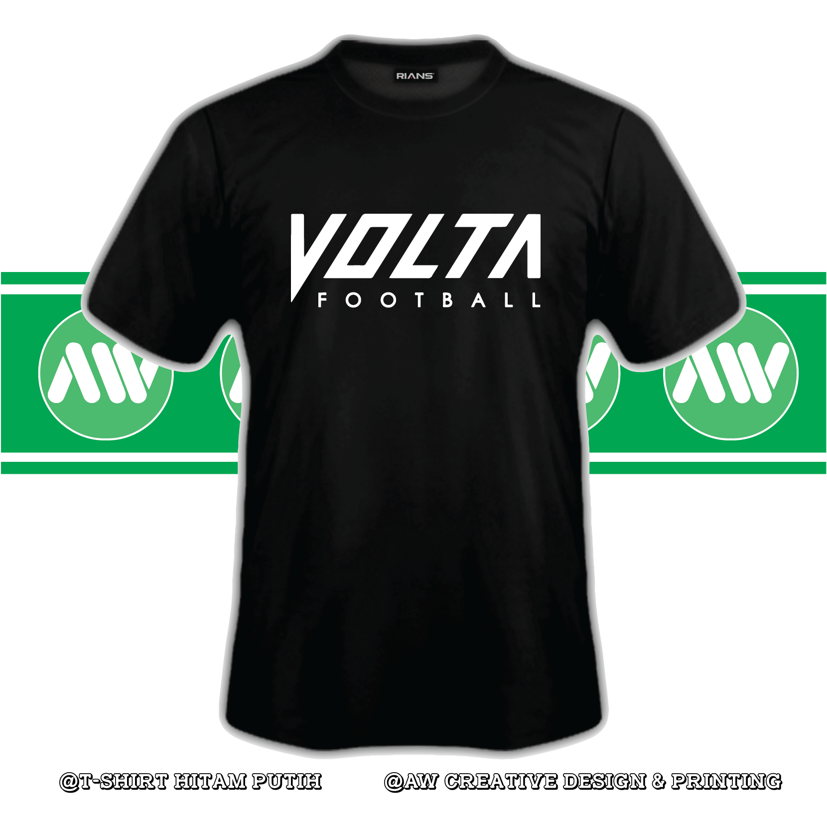 T-Shirt VOLTA Football 100% Cotton Baju Tshirt Black White Hitam Putih Bossku