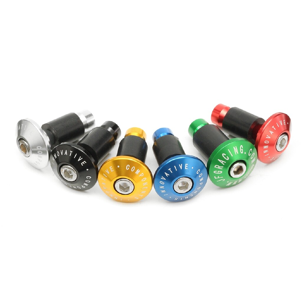 Moto Accessories - 1 Pair Bike Bicycle Aluminum Handlebar Grips Cap Plug Handle Bar Caps End Plugs - BLACK / RED / GOLD / GREEN / SILVER / BLUE / ORANGE