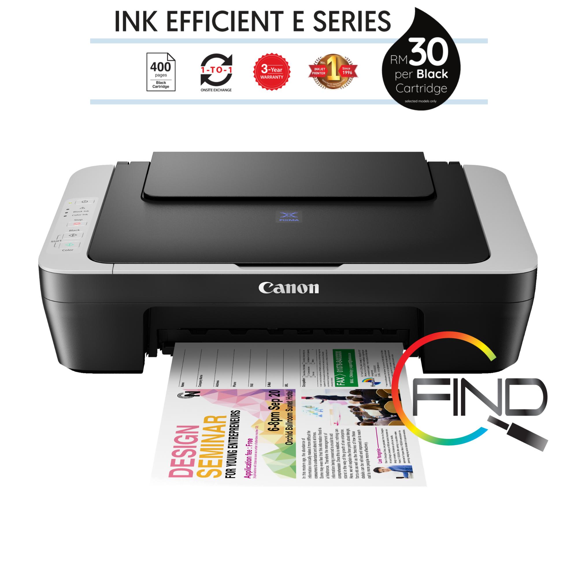 CANON PIXMA E410 (Black-Grey) AIO Ink Effeccient Printer - Print, Scan, Copy (FINDC)
