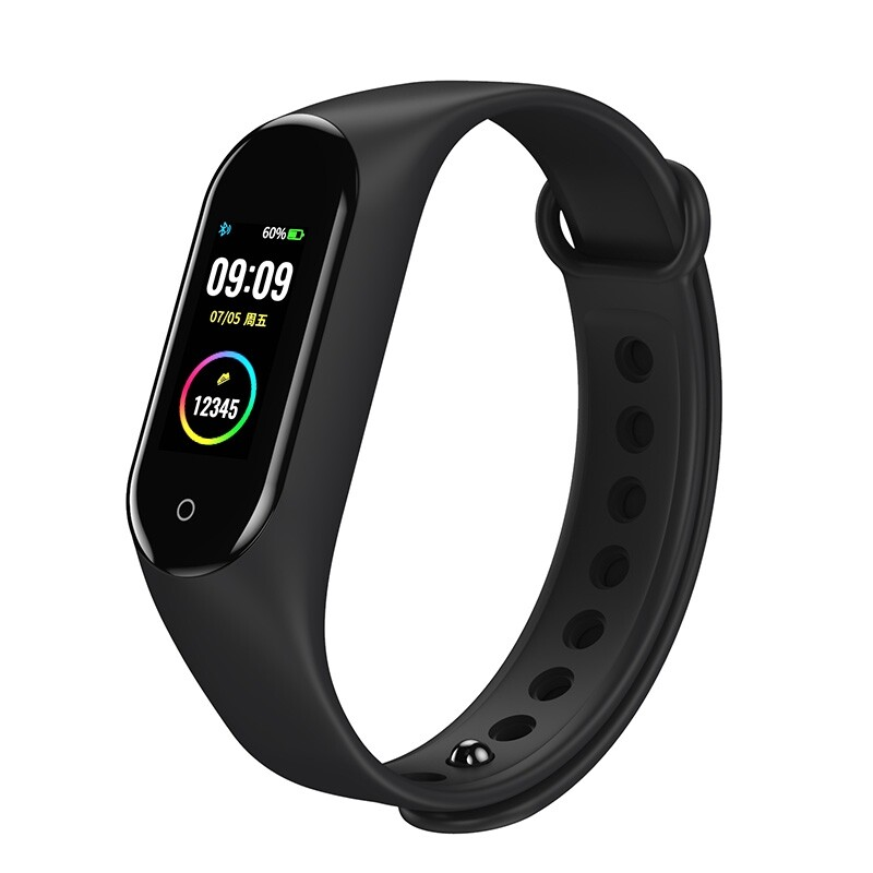 Smart Watch - M4V Custom Dials Full Touch Screen Heart Rate Blood Pressure O2 Monitor Weather Push USB - BLACK / BLUE / RED