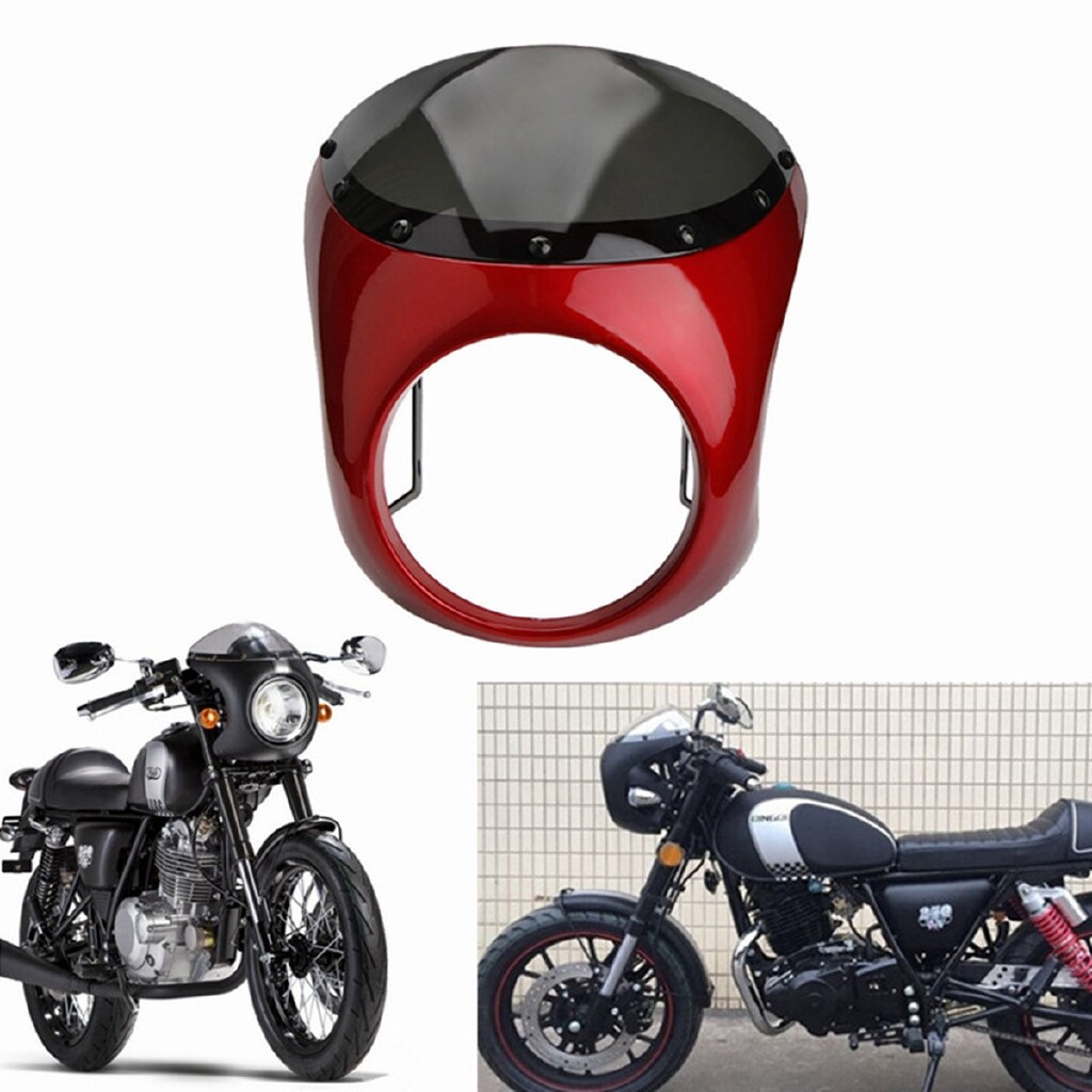 Moto Accessories - Motorcycle Retro Cafe Racer Handlebar Fairing Windshield & Mounting For Harley - BLACK / RED / MATTE BLACK