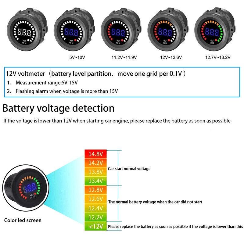 Automotive Tools & Equipment - IP67 12/24V Digital Voltage Gauge Battery Monitor LED Display Voltmeter Car Boat - Car Replacement Parts