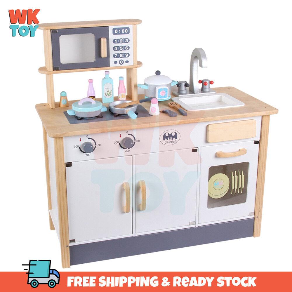 WKTOY Wooden Kitchen White Wood Colour Microwave Stove Pretend Play Kitchen Toys