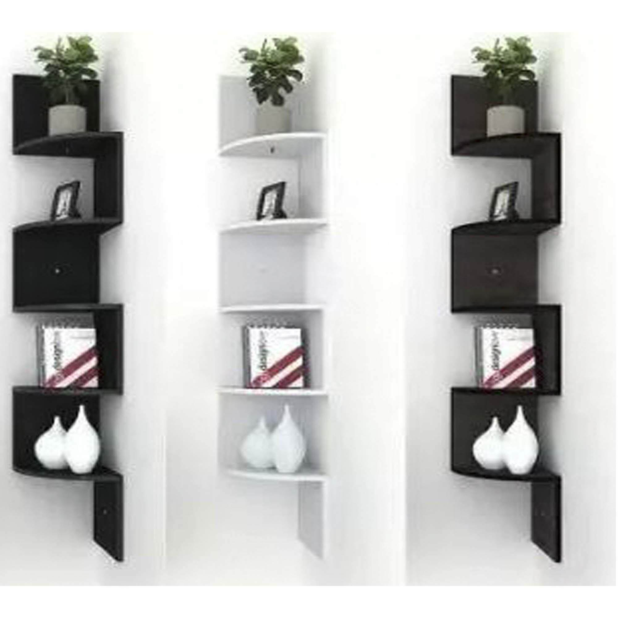 Floating corner wall shelf