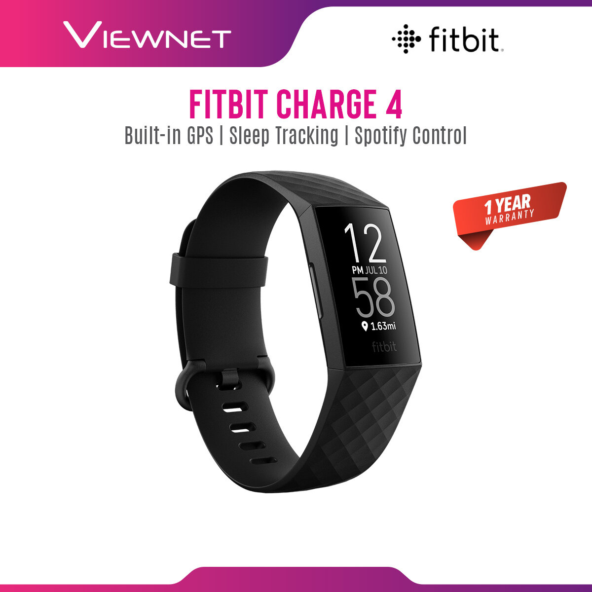 Fitbit Charge 4 Advanced Health & Fitness Tracker Smartwatch with Built-in GPS 24/7 Heart Rate Tracking Battery Up To 7 Days (Black)