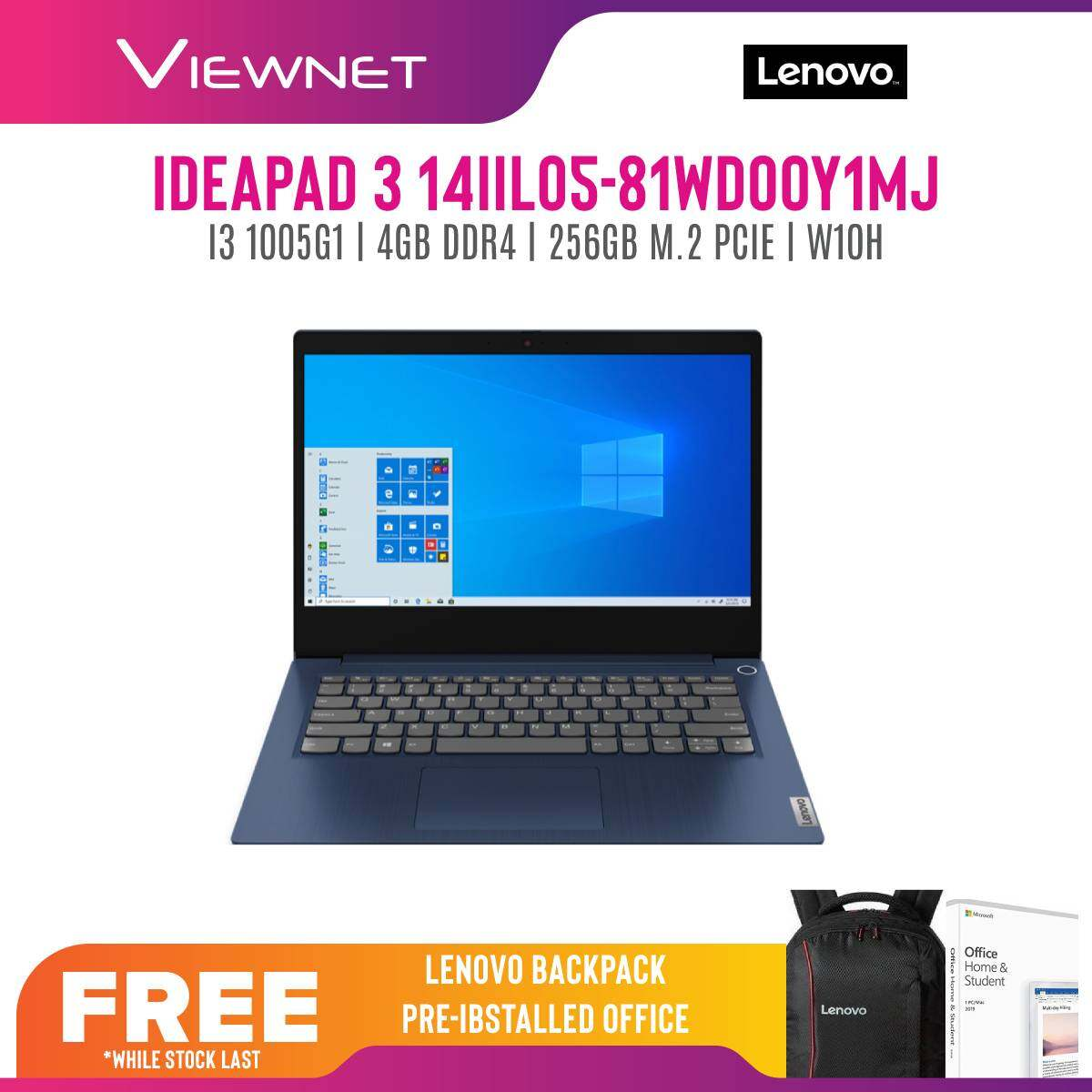 LENOVO IDEAPAD 3 IP3-14IIL05 81WD00Y0MJ/ 81WD00Y1MJ LAPTOP (I3-1005G1/4GB/256GB SSD/14 FHD/W10/OFF H&S 2019/1YR)