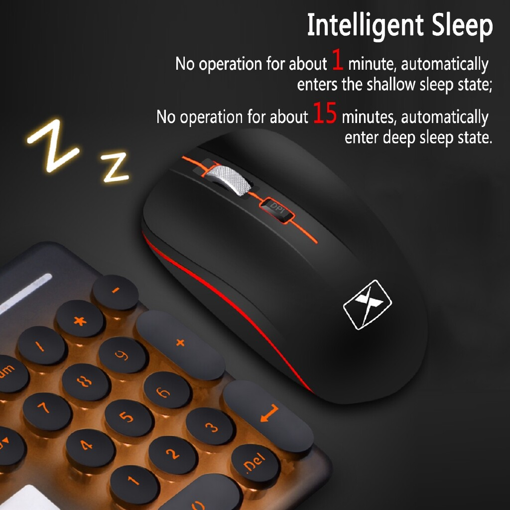 Keyboards - Rechargeable 2.4G 600mAh Gaming keyboard and Mouse SET WIRELESS - BLACK ORANGE LIGHT / WHITE BLUE LIGHT