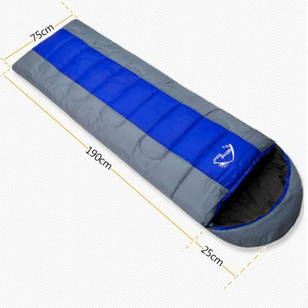 Best Selling Wind Tour Thermal Adult Sleeping Bag Autumn Winter Envelope Hooded Outdoor Travel Camping Water Resistant Thick 1.3kg Blue (blue)