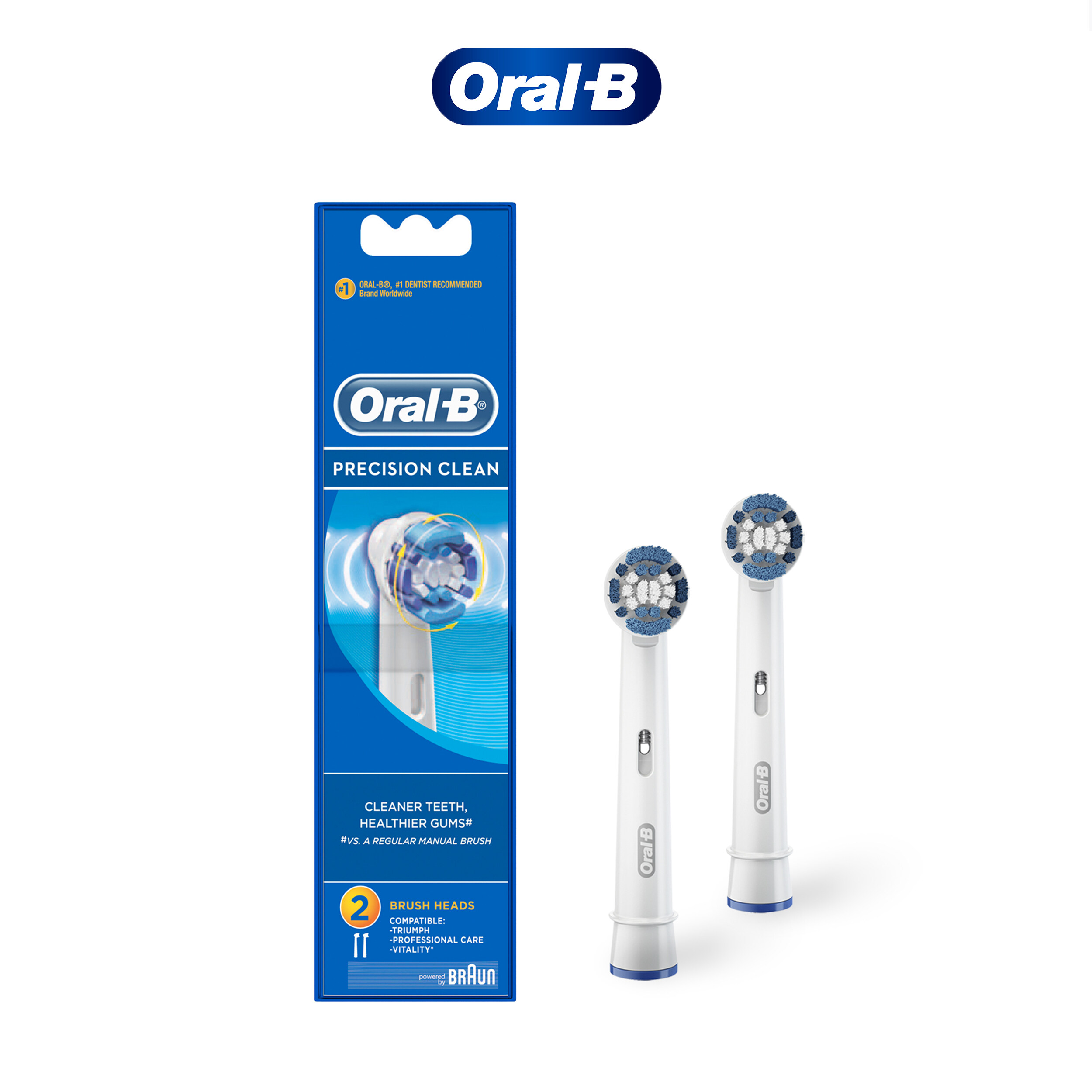 Oral-B Power Brush Set Precision Clean Refill 2 Count
