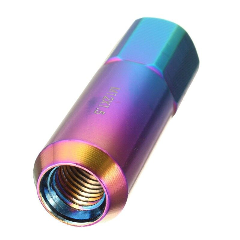 Tyres & Wheels - 20x NEO CHROME 60MM ALUMINUM EXTENDED TUNER LUG NUTS FOR WHEELS/RIMS M12X1.5 - Car Replacement Parts