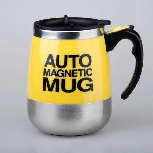 Automatic Magnetic Mug 400ML Insulated Stirring Mix Bottle (Yellow)
