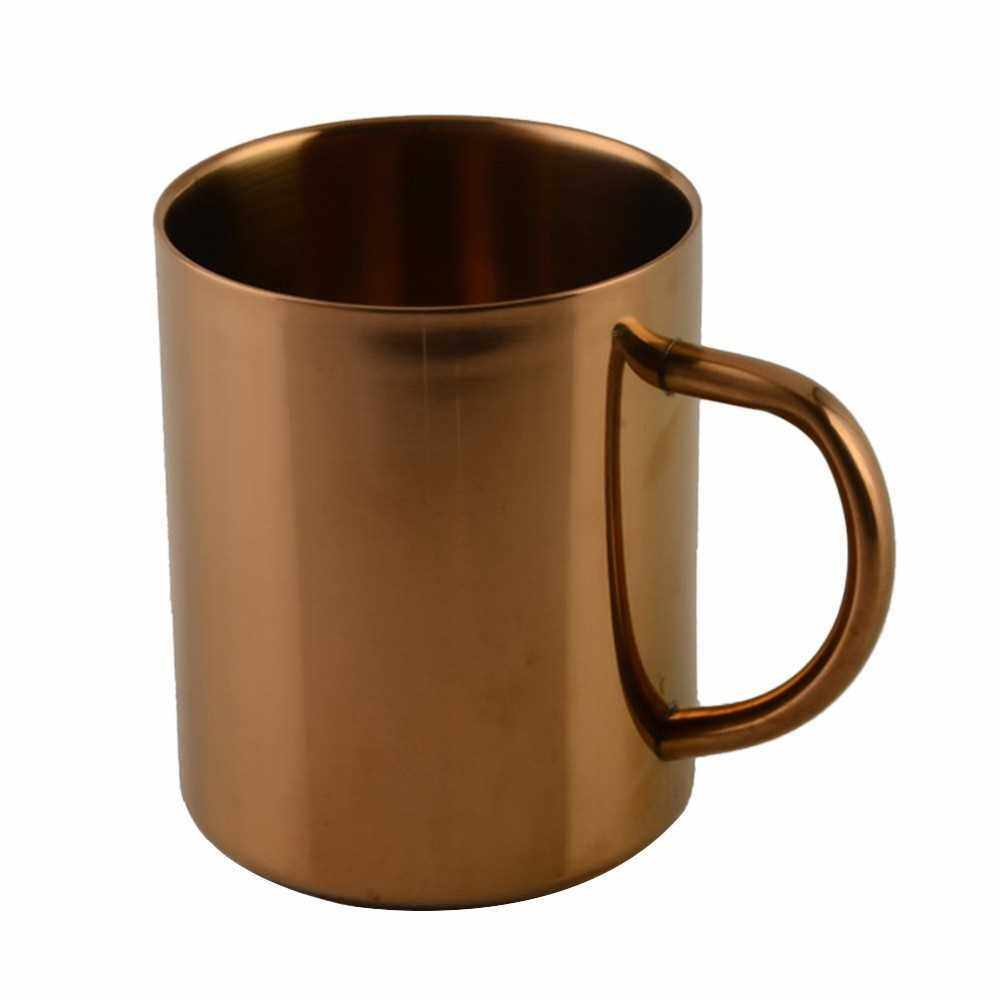 Stainless Steel Cups 400ml Pint Drinking Cups Metal Drinking Glass Water Cup for Kids and Adults (Rose Gold)