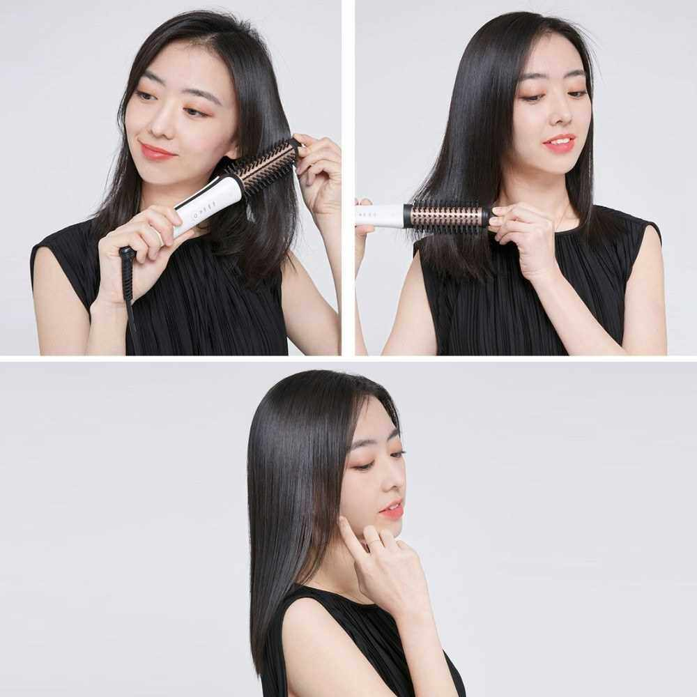 Xiaomi Mijia Yueli Hair Curler Hairdresser Hair Straightener Salon Hair Styling Adjustable 3 Mode Electric Hot Air Curling Iron Comb for Adults Girls 100V-240V 50/60Hz (White)